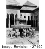 #27495 Stock Photo of the Lion Fountain in the Court of the Lions, Alhambra, Granada, Spain by JVPD