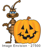 #27500 Clip Art Graphic Of A Brown Ant Insect Mascot Character Standing Behind A Carved Halloween Pumpkin