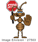 #27503 Clip Art Graphic Of A Brown Ant Insect Mascot Character Holding A Stop Sign