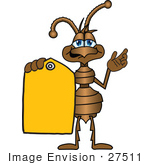#27511 Clip Art Graphic Of A Brown Ant Insect Mascot Character Holding A Yellow Sales Price Tag