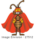 #27512 Clip Art Graphic Of A Brown Ant Insect Mascot Character Dressed As A Super Hero