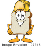 #27516 Clip Art Graphic Of A White Bread Slice Mascot Character Wearing A Yellow Hardhat