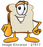#27517 Clip Art Graphic of a White Bread Slice Mascot Character Pointing Outwards by toons4biz