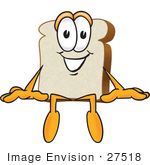 #27518 Clip Art Graphic Of A White Bread Slice Mascot Character Sitting On A Ledge