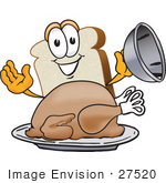 #27520 Clip Art Graphic Of A White Bread Slice Mascot Character Serving A Cooked Turkey Bird In A Platter On Thanksgiving