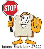 #27522 Clip Art Graphic Of A White Bread Slice Mascot Character Holding A Stop Sign