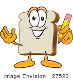#27523 Clip Art Graphic Of A White Bread Slice Mascot Character Writing With A Yellow Pencil