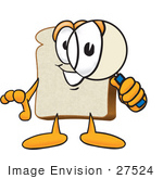 #27524 Clip Art Graphic Of A White Bread Slice Mascot Character Looking Through A Magnifying Glass