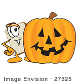 #27525 Clip Art Graphic Of A White Bread Slice Mascot Character Peeking Out From Behind A Halloween Pumpkin