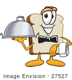 #27527 Clip Art Graphic of a White Bread Slice Mascot Character Serving a Food Platter While Waiting Tables by toons4biz