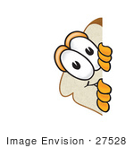 #27528 Clip Art Graphic Of A White Bread Slice Mascot Character Peeking Around A Corner And Spying