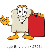 #27531 Clip Art Graphic Of A White Bread Slice Mascot Character Holding A Red Clearance Price Tag