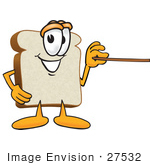 #27532 Clip Art Graphic Of A White Bread Slice Mascot Character Holding A Pointer Stick