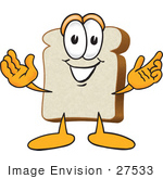 #27533 Clip Art Graphic Of A White Bread Slice Mascot Character Greeting With Open Arms