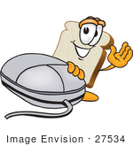 #27534 Clip Art Graphic Of A White Bread Slice Mascot Character Resting One Hand On A Computer Mouse And Waving