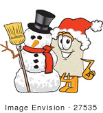 #27535 Clip Art Graphic Of A White Bread Slice Mascot Character In A Santa Hat Standing With A Snowman On Christmas