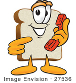 #27536 Clip Art Graphic Of A White Bread Slice Mascot Character Holding A Red Telephone Receiver