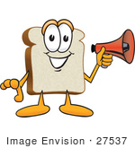 #27537 Clip Art Graphic Of A White Bread Slice Mascot Character Preparing To Make An Announcement With A Bullhorn Megaphone
