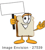 #27539 Clip Art Graphic Of A White Bread Slice Mascot Character Holding A Blank White Advertisement Sign