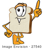 #27540 Clip Art Graphic Of A White Bread Slice Mascot Character Pointing Upwards