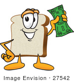 #27542 Clip Art Graphic Of A White Bread Slice Mascot Character Waving Green Cash