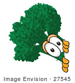 #27545 Clip Art Graphic Of A Broccoli Mascot Character Looking Around A Corner
