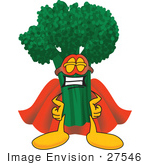 #27546 Clip Art Graphic Of A Broccoli Mascot Character Wearing A Mask And Super Hero Cape
