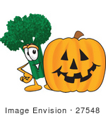 #27548 Clip Art Graphic Of A Broccoli Mascot Character With A Carved Halloween Pumpkin