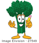 #27549 Clip Art Graphic Of A Broccoli Mascot Character Holding A Yellow Pencil