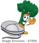 #27550 Clip Art Graphic of a Broccoli Mascot Character Waving While Standing by a Computer Mouse by toons4biz