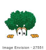 #27551 Clip Art Graphic Of A Broccoli Mascot Character Peeking Over A Surface With A Scared Expression