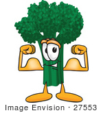 #27553 Clip Art Graphic of a Broccoli Mascot Character Flexing His Arm Bicep Muscles and Showing His Strength by toons4biz