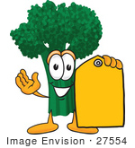 #27554 Clip Art Graphic Of A Broccoli Mascot Character Holding A Yellow Sales Price Tag