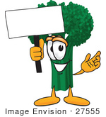 #27555 Clip Art Graphic Of A Broccoli Mascot Character Waving A Blank White Advertisement Sign