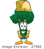 #27560 Clip Art Graphic Of A Broccoli Mascot Character Wearing A Yellow Hardhat