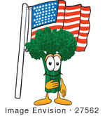 #27562 Clip Art Graphic Of A Broccoli Mascot Character Pledging Allegiance To An American Flag