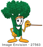 #27563 Clip Art Graphic Of A Broccoli Mascot Character Holding A Pointer Stick