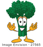 #27565 Clip Art Graphic Of A Broccoli Mascot Character Greeting With Open Arms