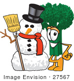 #27567 Clip Art Graphic Of A Broccoli Mascot Character Standing Beside A Snowman On Christmas