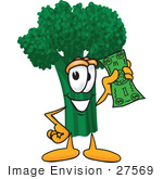 #27569 Clip Art Graphic Of A Broccoli Mascot Character Waving A Green Banknote