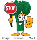 #27571 Clip Art Graphic Of A Broccoli Mascot Character Holding A Stop Sign