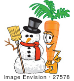 #27578 Clip Art Graphic Of An Organic Veggie Carrot Mascot Character Standing By A Snowman