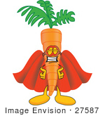 #27587 Clip Art Graphic of an Organic Veggie Carrot Mascot Character Wearing a Super Hero Cape and Mask by toons4biz