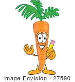 #27590 Clip Art Graphic of an Organic Veggie Carrot Mascot Character Holding a Pencil by toons4biz