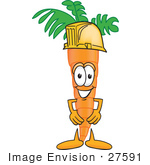 #27591 Clip Art Graphic Of An Organic Veggie Carrot Mascot Character Wearing A Yellow Helmet Hardhat