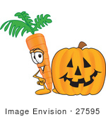 #27595 Clip Art Graphic Of An Organic Veggie Carrot Mascot Character Standing By A Halloween Pumpkin