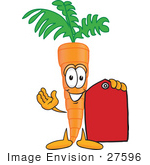 #27596 Clip Art Graphic Of An Organic Veggie Carrot Mascot Character Holding A Red Price Tag