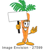#27599 Clip Art Graphic Of An Organic Veggie Carrot Mascot Character Holding Up A Blank White Advertisement Sign