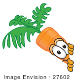 #27602 Clip Art Graphic Of An Organic Veggie Carrot Mascot Character Looking Around A Corner