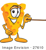 #27610 Clip Art Graphic Of A Swiss Cheese Wedge Mascot Character Using A Pointer Stick
